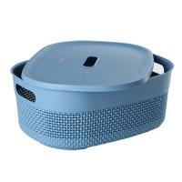 "Корзина для хранения с крышкой OSLO 12л туманно-голубой (PT1332ТГ-12) ""ПЛАСТ-ТИМ"""