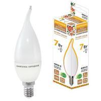 Лампа светодиодная WFС37-7 Вт-230 В -4000 КE14 (свеча на ветру) Народная (SQ0340-0190)