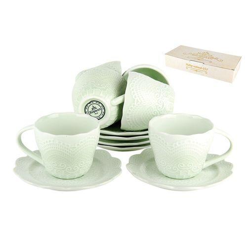 Набор чайный 6/12 250мл п/у, Кружево светло-зеленое LS-004AG