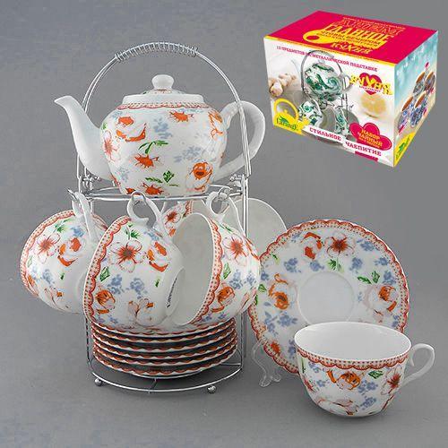 Набор чайный на метал.под. 13 пр. КАНТРИ-РОУЗ 600/225 мл цв.уп. (КОР-8НАБ)  586344